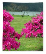 Azaleas At The Azores Fleece Blanket