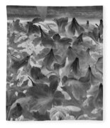 Azaleas Black And White Fleece Blanket