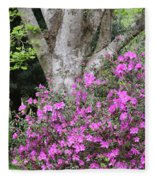 Azaleas With Tree Fleece Blanket