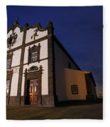 Azorean Church At Night Fleece Blanket