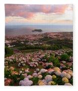 Azorean Town At Sunset Fleece Blanket