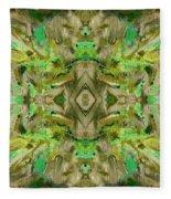 Aztec Kaleidoscope - Pattern 009 - Dark Olive Fleece Blanket