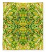 Aztec Kaleidoscope - Pattern 018 - Lemonlime Fleece Blanket
