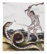 Aztec Killing A Serpent Fleece Blanket
