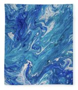Azure Transfusions Of Ocean Waves Fragment  Fleece Blanket