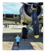 B-17 Engine Aircraft Wwii Fleece Blanket