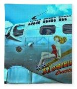 B-17 Aluminum Overcast Pin-up Fleece Blanket