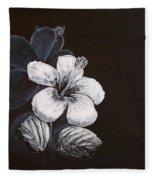 B And W Hibiscus Fleece Blanket