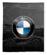 B M W  3 D  Badge Over B M W I8 Silver Blueprint On Black Special Edition Fleece Blanket