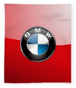 B M W Badge On Red  Fleece Blanket