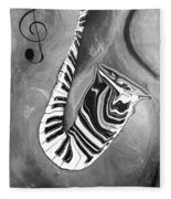 Piano Keys In A Saxophone B/w - Music In Motion Fleece Blanket