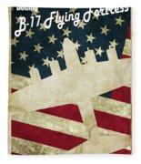 B17 Flying Fortress Vintage Fleece Blanket