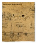 B29 Superfortress Military Plane World War Two Schematic Patent Drawing On Worn Distressed Canvas Fleece Blanket