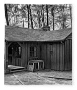 Babcock State Park Cabin - Paint Bw Fleece Blanket