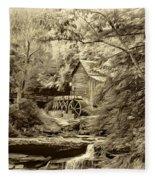 Babcock State Park Wv - Sepia Fleece Blanket
