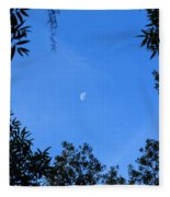Babcock Wilderness Ranch - Daytime Moon Over Babcock Fleece Blanket