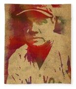 Babe Ruth Baseball Player New York Yankees Vintage Watercolor Portrait On Worn Canvas Fleece Blanket