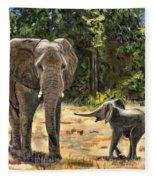Baby And Mom Elephant Painting Fleece Blanket