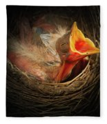 Baby Bird In The Nest With Mouth Open Fleece Blanket