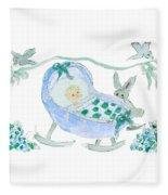 Baby Boy With Bunny And Birds Fleece Blanket