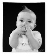 Baby Covering Mouth With Hands, C.1950s Fleece Blanket