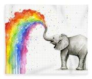 Baby Elephant Spraying Rainbow Fleece Blanket