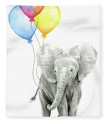 Baby Elephant With Baloons Fleece Blanket by Olga Shvartsur