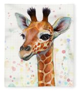 Baby Giraffe Watercolor  Fleece Blanket by Olga Shvartsur