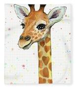 Baby Giraffe Watercolor With Heart Shaped Spots Fleece Blanket by Olga Shvartsur