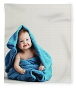 Baby Girl Covered With A Blue Warm Blanket Fleece Blanket