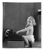 Baby Girl With Adding Machine, C.1940s Fleece Blanket