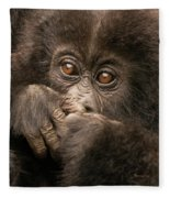 Baby Gorilla Close-up Hiding Mouth With Hands Fleece Blanket