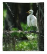 Baby Great Egrets With Nest Fleece Blanket
