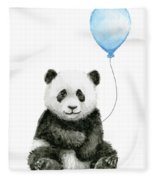 Baby Panda With Blue Balloon Watercolor Fleece Blanket