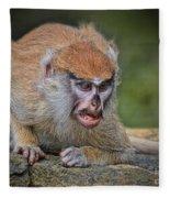 Baby Patas Monkey On Guard  Fleece Blanket