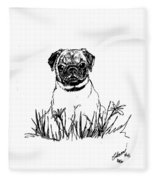 Baby Pug In Flowers Fleece Blanket