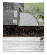 Baby Seagull Running In The Rain Fleece Blanket