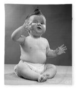 Baby With Odd Expression, 1950s Fleece Blanket