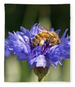 Bachelor Button And Bee Fleece Blanket