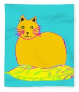 Background Colour Choice Saffron Cat Fleece Blanket