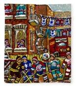 Backlane Snowy Winter Scene Hockey Game Verdun Alley Montreal Team Jerseys Canadian Art Fleece Blanket