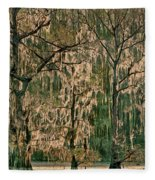 Backlit Moss-covered Trees Caddo Lake Texas Fleece Blanket