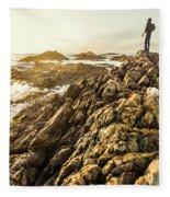 Backpacking A Tropical Sundown Fleece Blanket