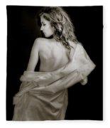 Backside In Black And White Fleece Blanket