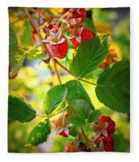 Backyard Garden Series - Sunlight On Raspberries Fleece Blanket