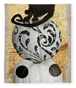 Bad Cat Halloween Fleece Blanket