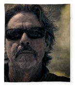 Badass Man In Sunglasses Stares Into The Unknown Fleece Blanket