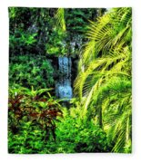 Bahamas - Tropical Waterfall Fleece Blanket