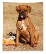 Bailey The Boxer Puppy Fleece Blanket