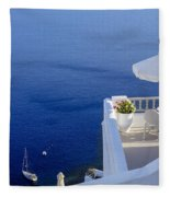 Balcony Over The Sea Fleece Blanket